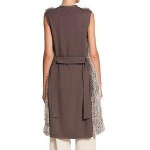Halston heritage fur blocker sweater vest